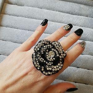 Large black rose ring